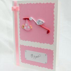 Kartka na narodziny dziecka – bocian, wersja różowa