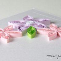 Kartka ślubna – róż i lawenda