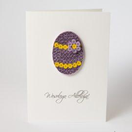 Kartka wielkanocna – pisanka fioletowa