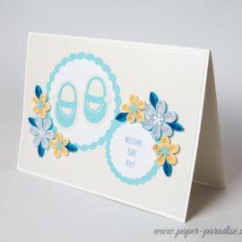 Kartka z okazji narodzin dziecka – buciki