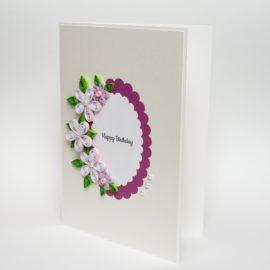 Kartka urodzinowa – róż i perły