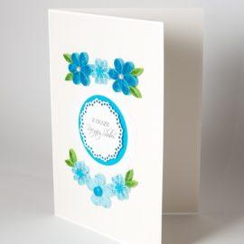 Kartka na rocznicę/urodzinowa – kwiaty niebieskie