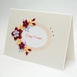 Kartka urodzinowa/ślubna – kolor wiśniowy i kremowy