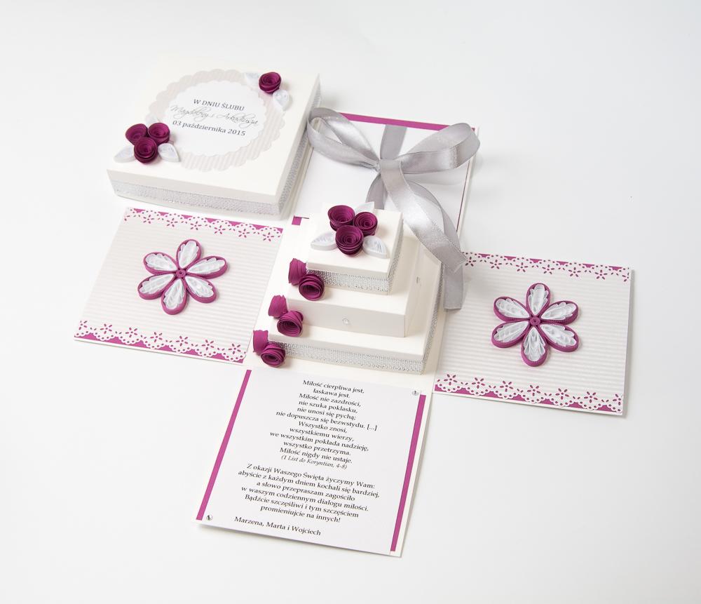 Unique Handmade Wedding Cards Invitations Exploding Bo Quilling Paper Cake