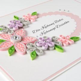Kartka urodzinowa – kolor różowy i szary