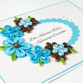 Kartka urodzinowa – kolor niebieski i brązowy