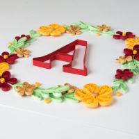 """Obrazek – wianek z literą """"A"""""""