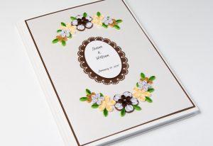 Brown Floral Wedding Guest Book