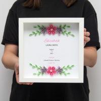 Metryczka – Różowe kwiaty