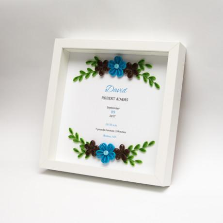 Metryczka – Niebieskie kwiaty