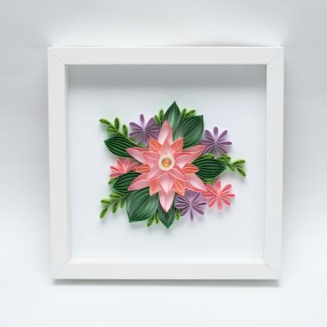Kwiaty różowe – Quilling konturowy