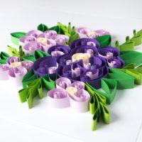 Kwiaty fioletowe – Quilling konturowy