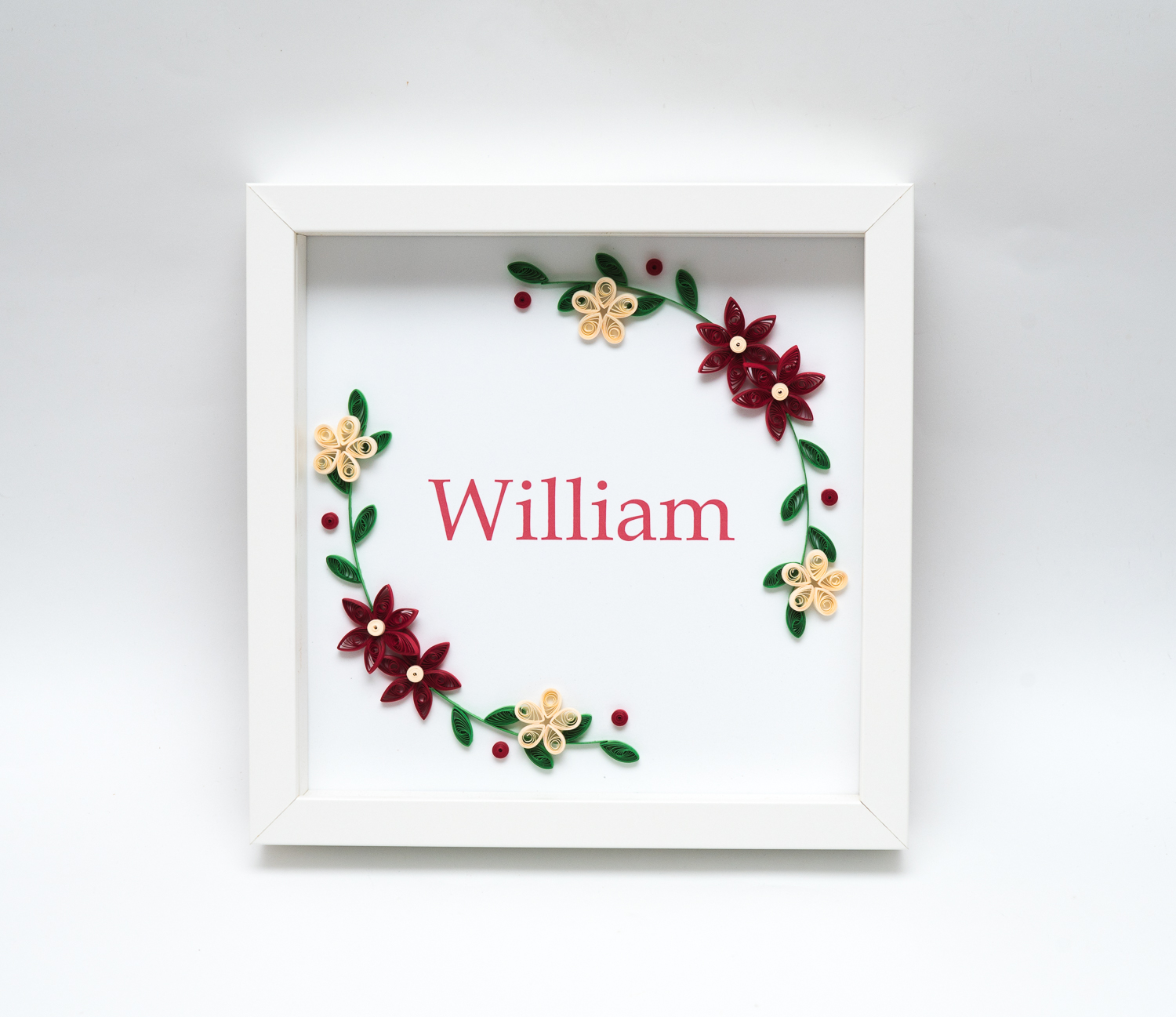 You are currently viewing Unique Handmade Name Sign – Baby Boy Floral Wreath