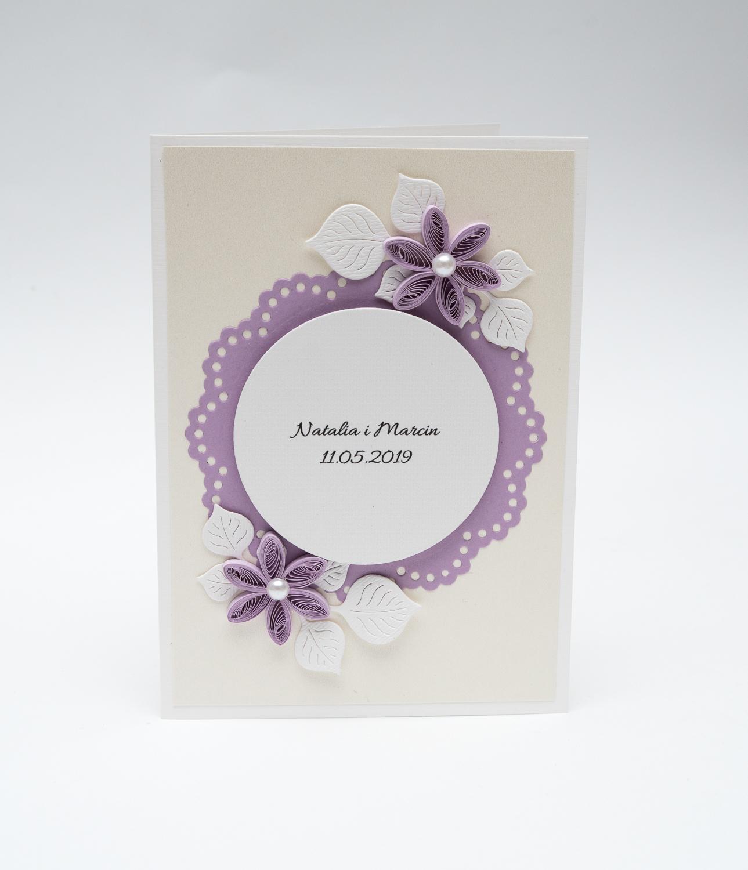 Zaproszenie ślubne w kolorze liliowym – Quilling