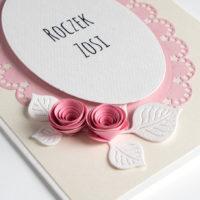 Zaproszenia na Roczek – róże – 5 sztuk