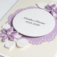 Zaproszenia ślubne – kolor liliowy – 5 sztuk