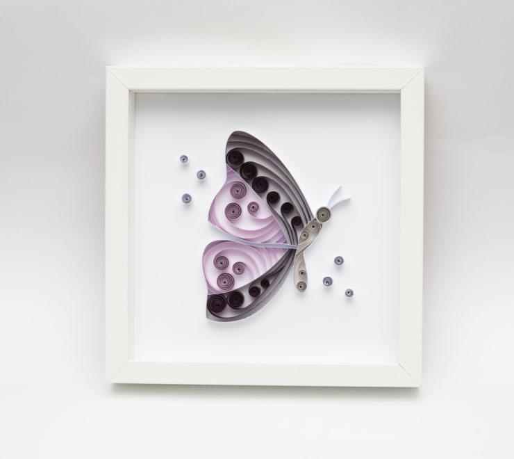 Fioletowy motyl – ręcznie robiona dekoracja