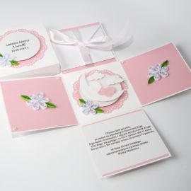 Kartka na Chrzest – Exploding Box, różowy