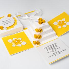 Kartka na ślub – Exploding box, żółty