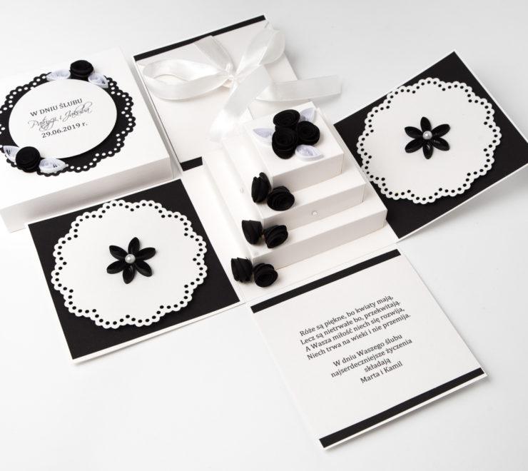 Wyjątkowa kartka ślubna – Exploding Box z tortem