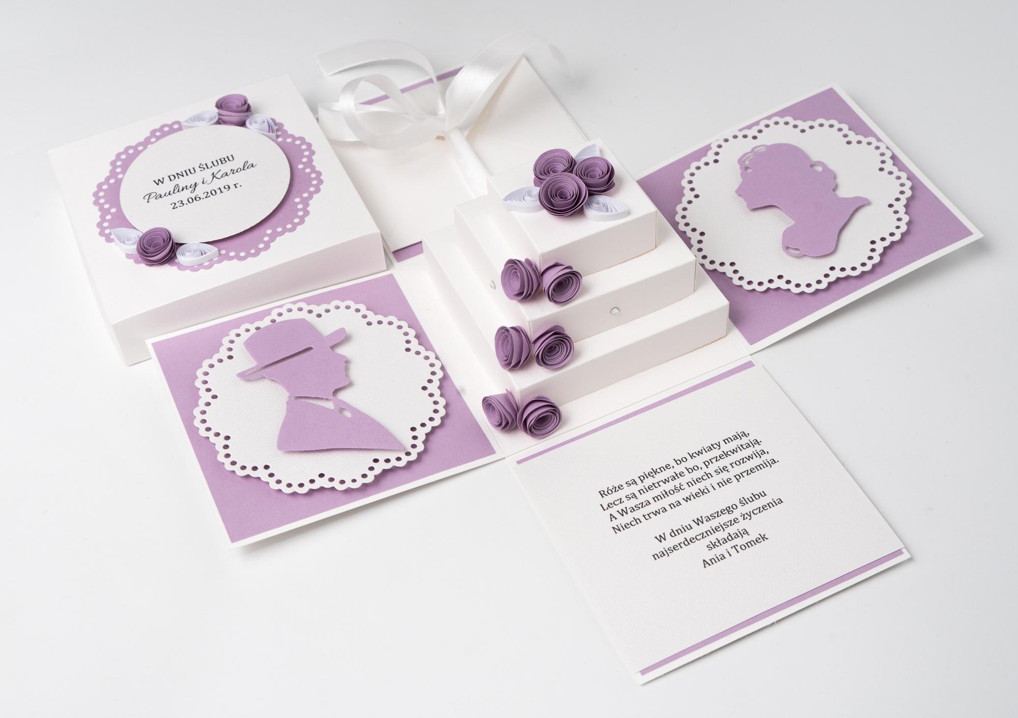 Ręcznie robiona kartka ślubna – Exploding Box z tortem
