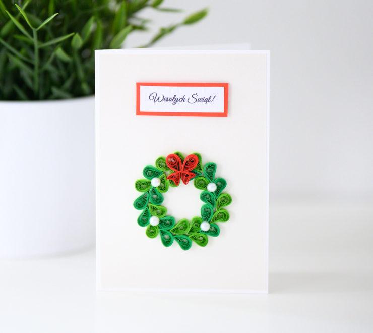 Kartka na Boże Narodzenie – świąteczny wieniec