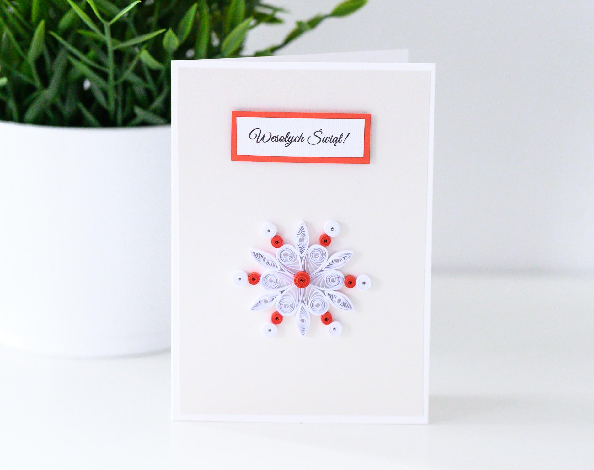 Ręcznie robiona kartka świąteczna ze śnieżynką