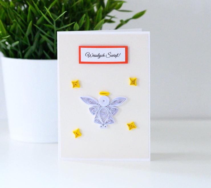 Ręcznie robiona kartka świąteczna z aniołkiem – Quilling