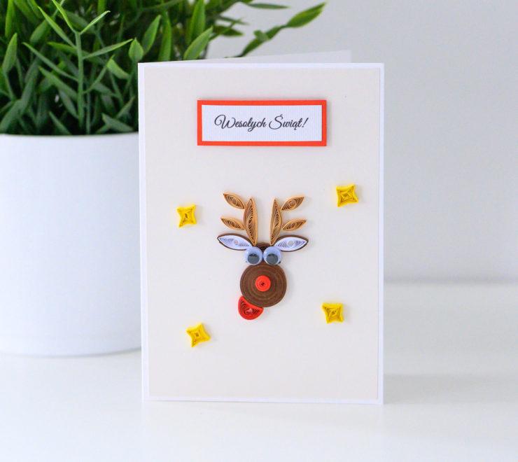 Ręcznie robiona kartka na Boże Narodzenie – Renifer