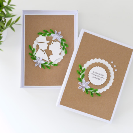 Ślubna kartka w pudełku – rustykalna