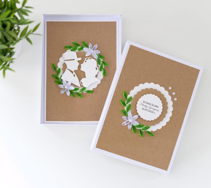 Ręcznie robiona kartka ślubna w stylu rustykalnym – pudełko