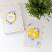 Ślubna kartka w pudełku – kolor żółty