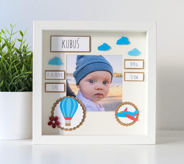 Metryczka ze zdjęciem dla chłopca – Prezent z okazji narodzin dziecka