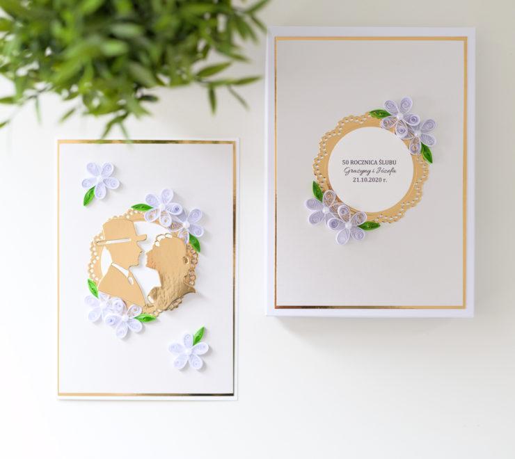 Read more about the article Ręcznie robiona kartka w pudełku z okazji 50 rocznicy ślubu