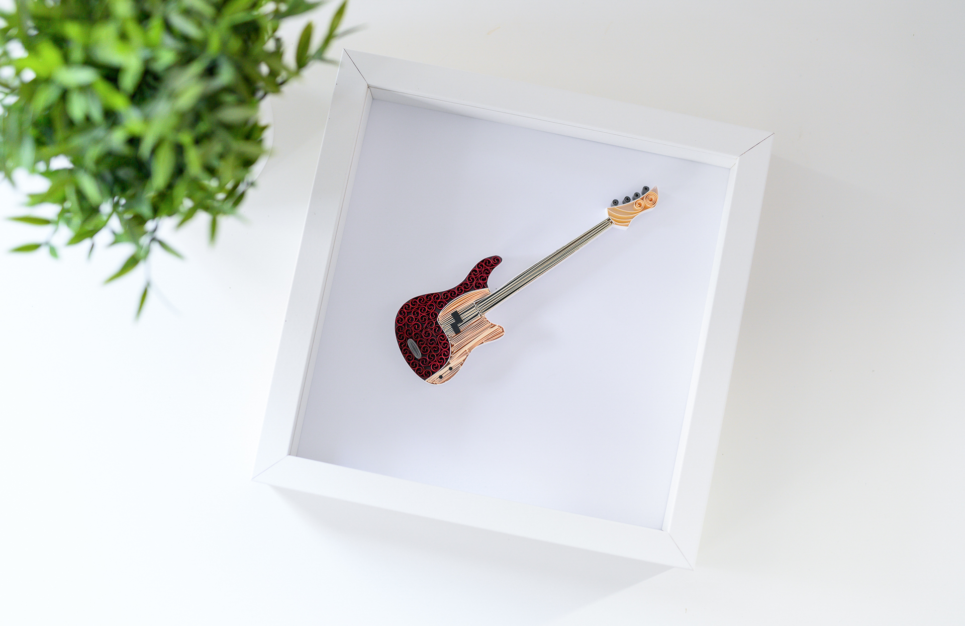 Perfect gift for music lovers – Paper bass guitar wall art