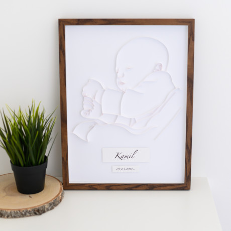 Metryczka z portretem dziecka – wersja biała dla chłopca