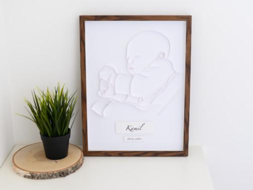 ręcznie robiona metryczka dla dziecka z portretem narodziny dziecka