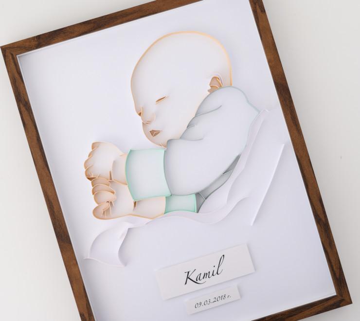 Read more about the article Metryczka z okazji narodzin dziecka z portretem – minimalistyczne dekoracje do pokoju chłopca