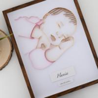 Metryczka z portretem dziecka – wersja kolorowa dla dziewczynki